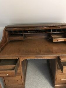 Original Antique Oak Roll Top Desk Price Reduced
