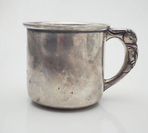 Antique Rabbit Handle Sterling Silver Baby Cup By Saart Brothers