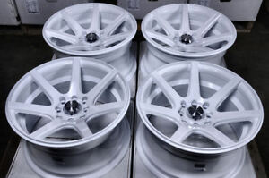 15x8 Wheels Civic Accord Corolla Mirage Lancer Galant Miata White Rims 4 Lugs