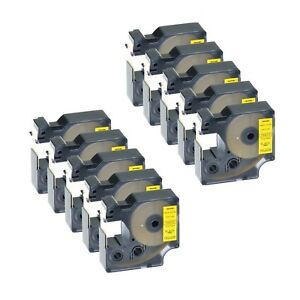 10pk Black On Yellow Vinyl Label 18433 For Dymo Rhino Labelpoint Pc Pc2 19mm