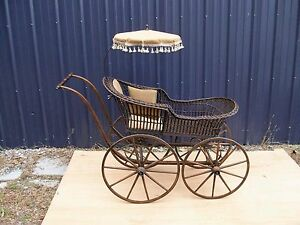 Antique Pram Wicker Baby Buggy Carriage Large Size Victorian Selling Out