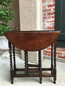 Petite Antique English Oak Barley Twist Drop Leaf Side Sofa Table Sutherland Tea
