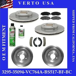 Front Brake Rotors Rear Drums Pads Shoes For Honda Civic 2001 2002 To 2005