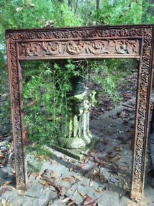 Antique Cast Iron Fireplace Surround With Flower And Vine Border