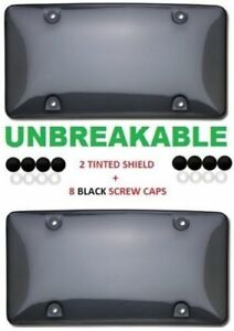 2 Unbreakable Tinted Smoke License Plate Tag Holder Frame Bumper Shield Cover