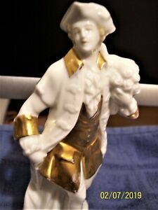 Capodimonte Figurine Marked N With A Crown White Porcelain With Gold Details