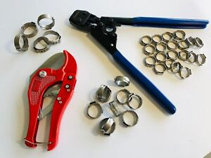 Pex Pipe Tube Crimping Tool Kit Pipe Cutter 35 Rings Cinch Clamps certified