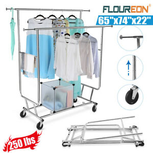 Collapsible Double Rail Rolling Garment Rack Clothing Drying Hanger Heavy Duty