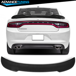 Fits 15 18 Dodge Charger Matte Black V2 Style Trunk Spoiler Wing Abs