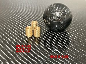1 Pcs Black Carbon Fiber Gear Shift Knob Round Ball Shape Fit Universal Car