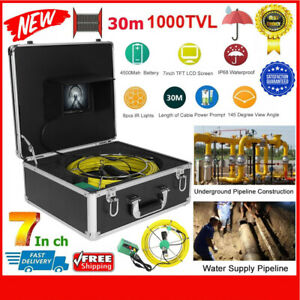 7 30m 98ft Pipe Inspection 1000tvl Video Camera Led Waterproof Drain Pipe Sewer