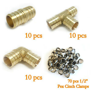 100 Pcs 1 2 Pex Crimp Fittings Ss Cinch Clamp certified Lead Free Brass