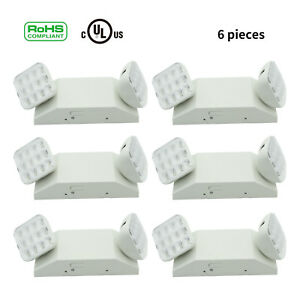 6pcs Twin Square Heads Emergency Exit Light Led Lamp Lighting Fixture New Exit