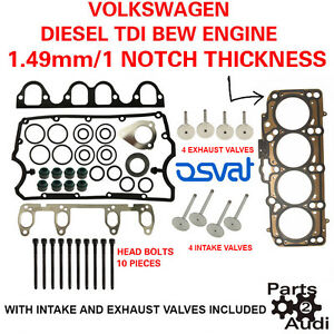 1 Notch Cylinder Head Gasket Set With Bolts And Valves Vw Diesel 1 9 Bew Eng