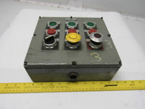 Allen Bradley 800t 9tz Ser M 9 Hole Control Box Enclosure W switches 9 x10 x3