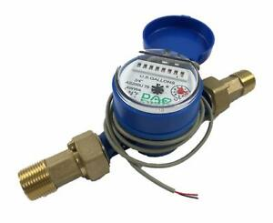 Water Meter W Pulse Output 3 4 Npt Couplings Measure Gl Max Flow Rate 20 Gpm