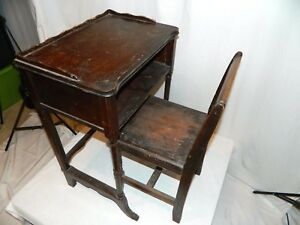 Antique 19th 20th Century Wood School House Desk With Chair
