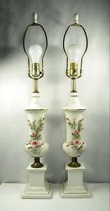Vintage Shabby Chic Dresser Lamps A Pair