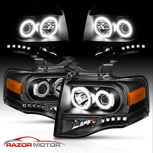 2007 2014 Dual Ccfl Halo Led Black Projector Headlights Pair For Ford Expedition