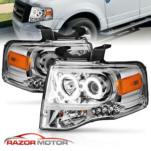 2007 2014 Dual Ccfl Halo Led Chrome Projector Headlight Pair For Ford Expedition