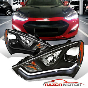 hid Model led Bar for 2013 2014 2015 Hyundai Genesis Coupe Black Headlights Set