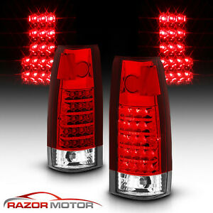 For 1988 1999 Red Clear Led Tail Lights Chevy Gmc C10 C K Silverado Tahoe Sierra