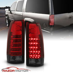 For 1988 1999 Chevy gmc C10 C k Silverado Tahoe Sierra Red Smoke Led Tail Lights