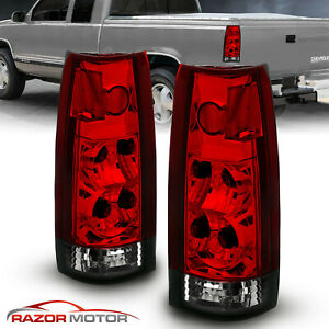 1988 1999 Euro Red Smoke Tail Lights For Gm Chevy Fullsize Silverado Tahoe Yukon