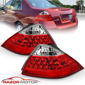 2006 2007 Red Rear Brake Tail Lights Pair For Honda Accord Lx Ex Exl 4dr Sedan