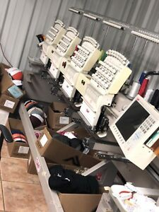 2007 Swf 1504 45 4 Head Embroidery Machine Clear Display Ready To Work