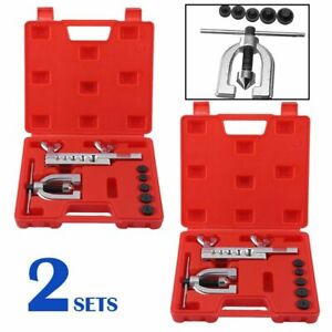 3set Of Double Flare Tool Kit Brake Pipe Flaring Tube Cutter Metal Brake Line Hi