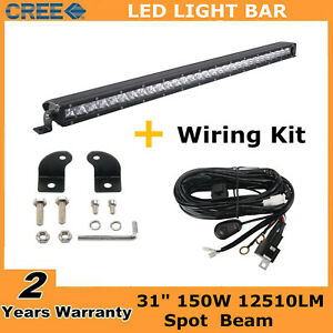 31 Inch 150w Single Row Led Light Bar Slim Lamp Combo Driving Ford Wires 30 32