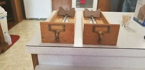 Vintage 2 Drawers Library Card Catalog Index File Cabinet Craft 1940s 50s Lot