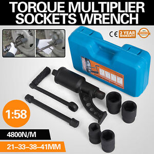 1 58 Torque Multiplier Set Wrench Lug Nut W 4 Sockets Lugnut Extension Remover