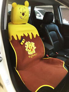 Winnie The Pooh Disney Car Accessory Seat Cover Head Rest Cover For 1 Seat 10