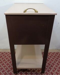 Vintage Mid Century Modern Rolling Metal File Cabinet With Shelf Retro Nice