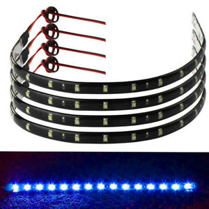 8x 12v Blue 15 Led Smd Waterproof Car Auto Grille Decor Lights Strip Flexible