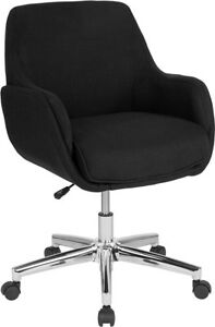 Rochelle Home And Office Upholstered Mid back Chair In Black Fabric