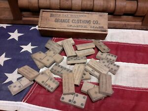 Antique Toy Dominoes Set Advertising Orange Clothing Store Boys Day 1890s 1900