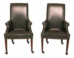 30485ec Pair Green Leather Office Chairs On Casters
