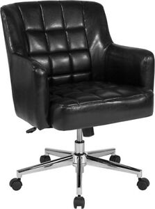Laone Home And Office Upholstered Mid back Chair In Black Leather