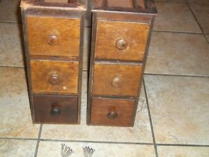 Singer Antique Treadle Sewing Machine Cabinet Tiger Oak Drawer Units 6 Drawers