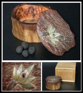 Kg07 Japanese Old Flower Pattern Mother Of Pearl Wooden Kogo Incense Container