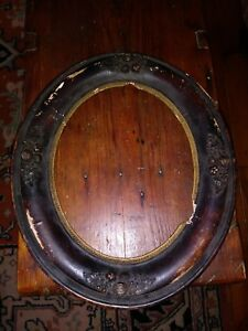 Pair Of 19th Century Ornate Victorian Wooden Oval Picture Frames 1800s