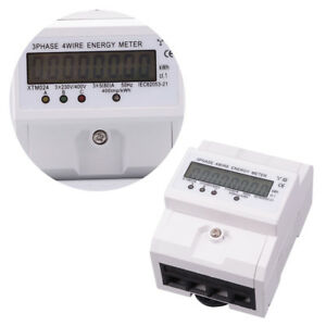 1pc Energy Meter Xtm024 3 Phase 4 Wire Rail Volt Amp Power Meter For Home Indoor