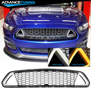Fits 15 17 Ford Mustang Front Upper Mesh Grille Bumper Guards With Led Lights