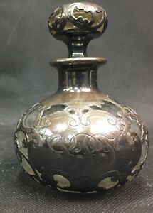 Antique Victorian Sterling Silver Overlay Wrapped Glass Perfume Bottle