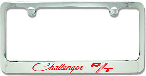 Dodge Challenger Rt Classic Red Chrome Plated Metal License Plate Frame