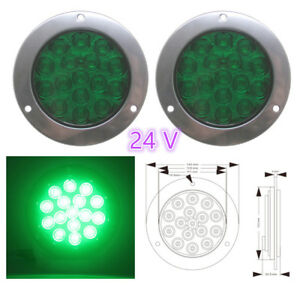 2x Green 16led Round Reverse Brake Turn Signal Rear Tail Light Trailer Truck 4