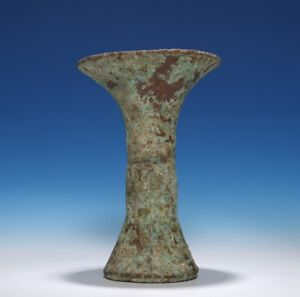 Chinese Shang Dynasty Old Ritual Gu Vase Bronze Wine Vessel Colored Goblet Cs05